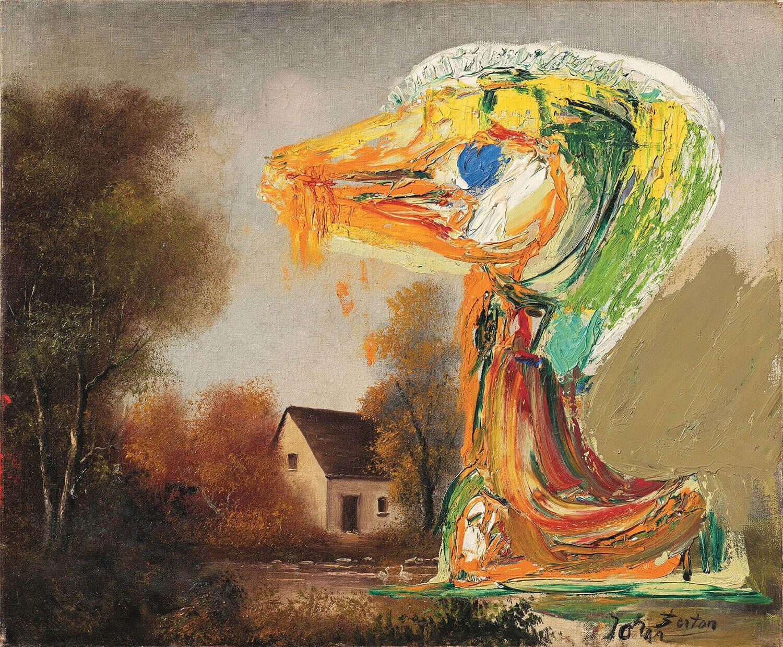 Asger Jorn:  DEN FORUROLIGENDE ÆLLING, 1959 Olie på lærred (malet oven på ældre billede) 53 x 64,5 cm
