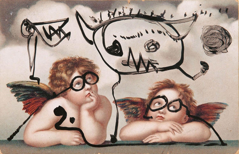 Asger Jorn:  RAFAELS ENGLE, u.å. Tusch på postkort 9 x 14 cm Troels Jorns samling