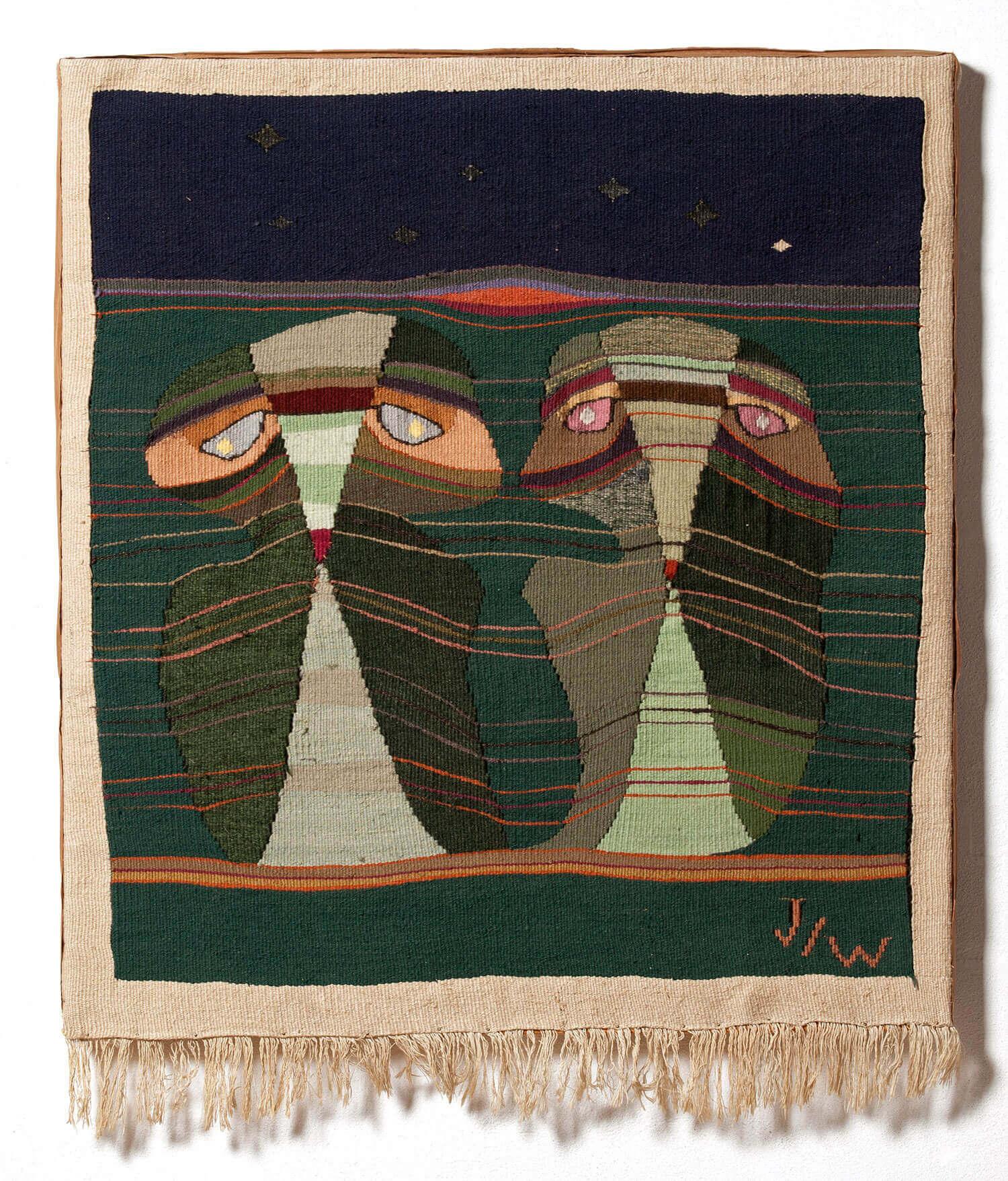 Asger Jorn og Pierre Wemaëre:  KÆRREN, 1947   Billedtæppe 76 x 68,5 cm