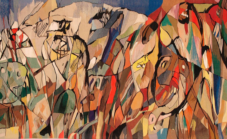Asger Jorn og Pierre Wemaëre:  Detalje fra DEN LANGE REJSE, 1959-60 Billedtæppe 181-185 x 1380 cm