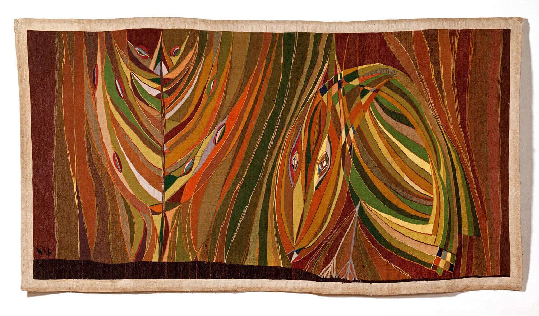 Asger Jorn, Pierre Wemaëre:  FUGLEN I SKOVEN, 1946-47 Billedtæppe 34 x 252 cm