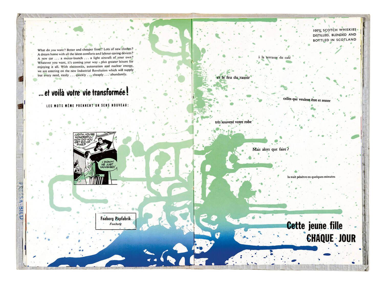 Opslag i Asger Jorn og Guy Debords bog: KØBENHAVNS ENDELIGT, 1957  Permild & Rosengreen, København 28,5 x 20,5 cm
