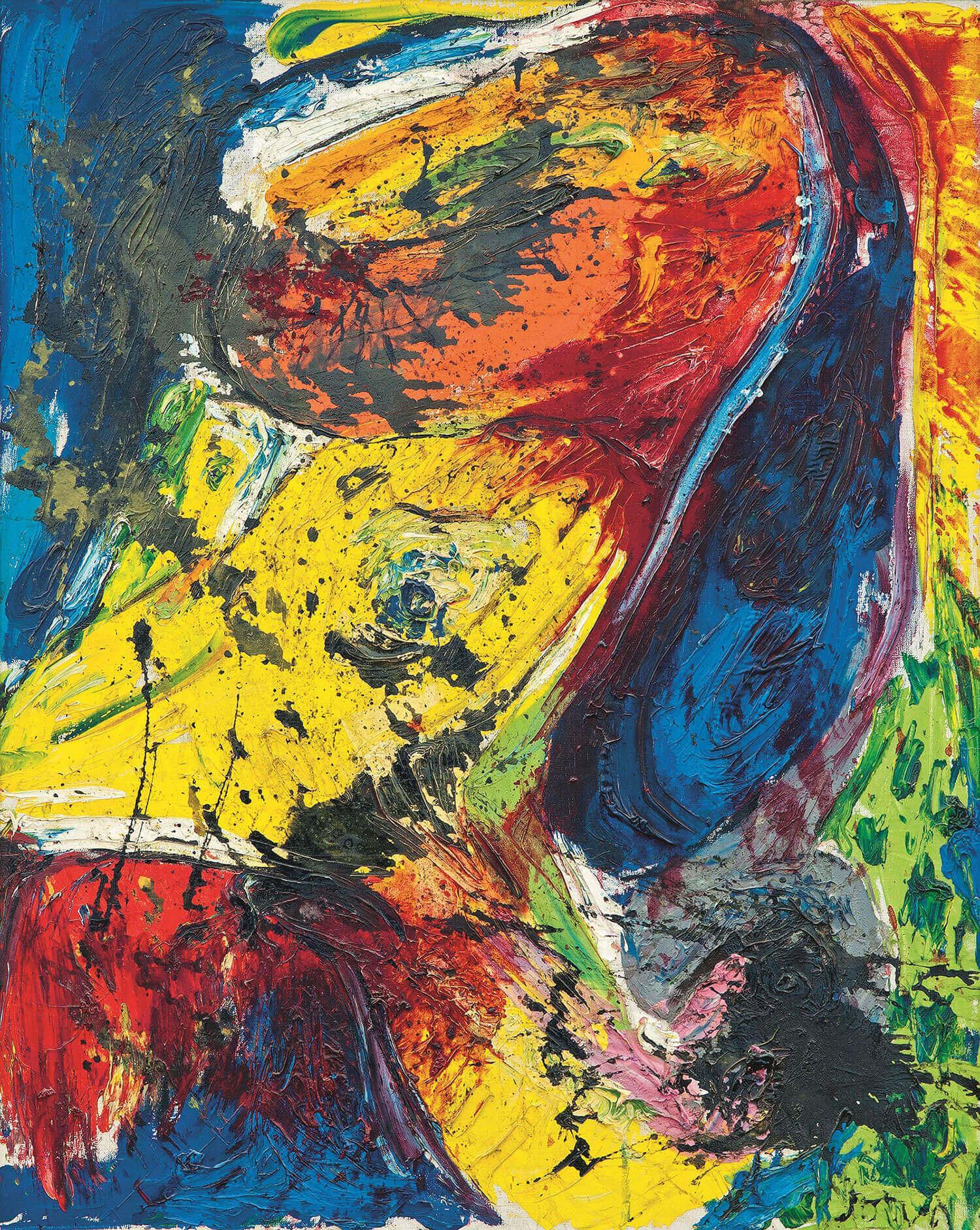 Asger Jorn:  LEDA MED SVANEN, PELIKAN, 1958 Lakfarve og olie på lærred 100 x 80 cm