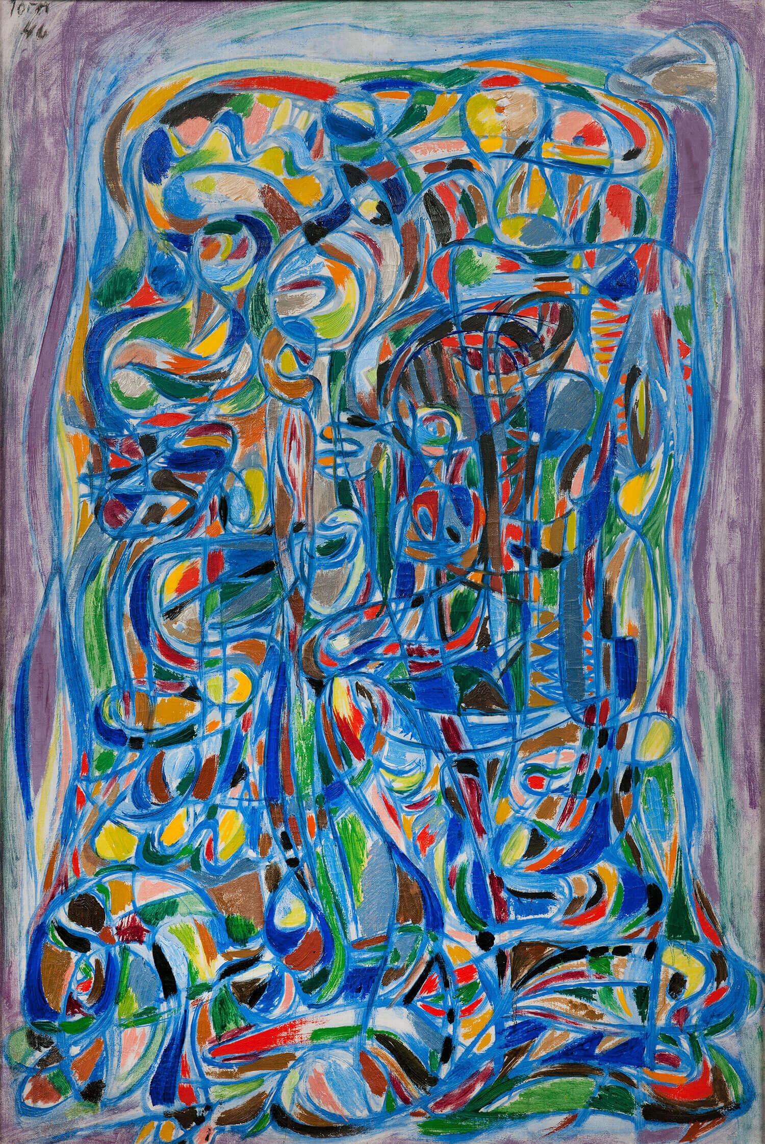 Asger Jorn:  UDEN TITEL, 1946 Olie på lærred 94,5 x 63 cm