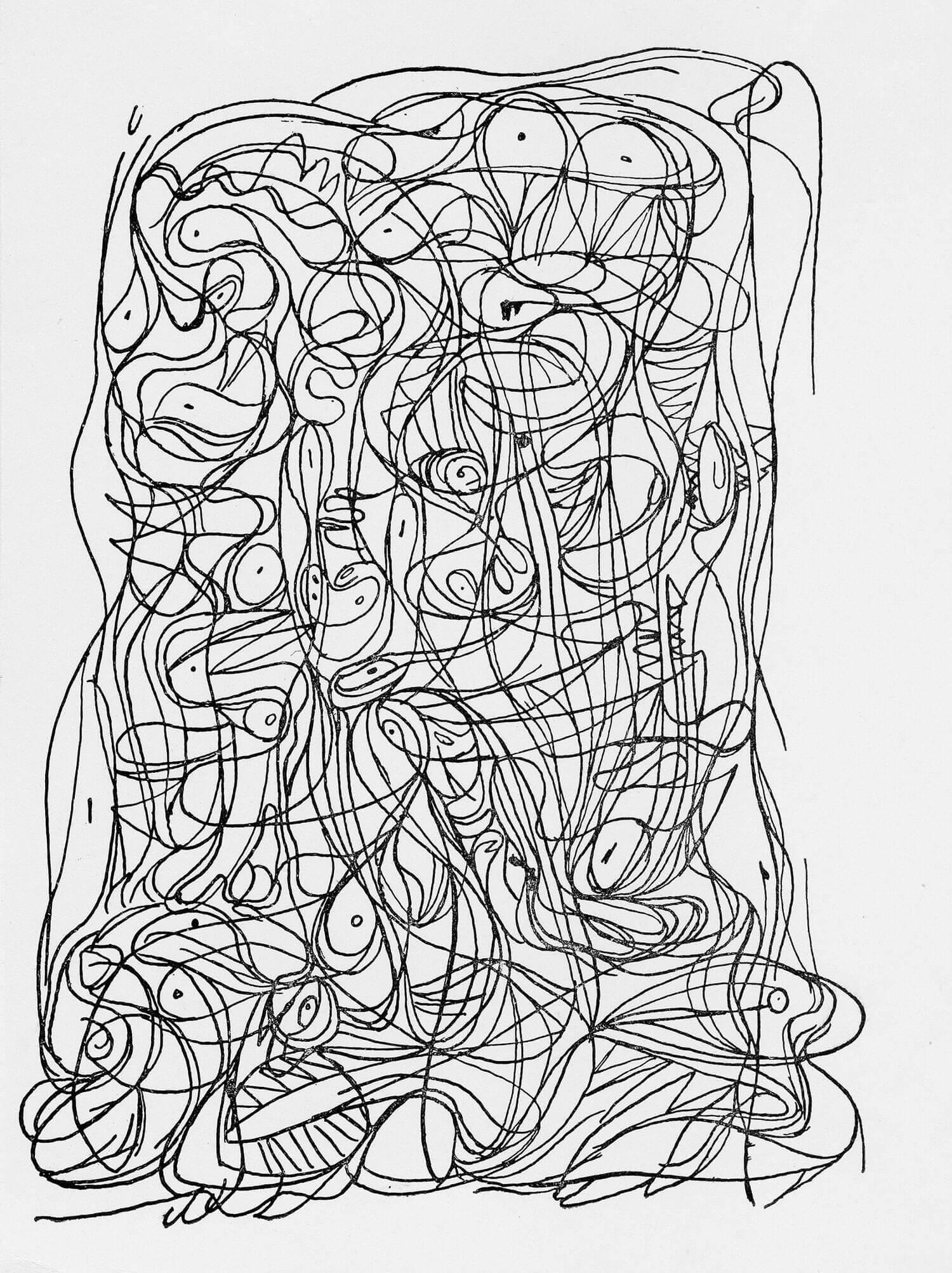 Asger Jorn: UDEN TITEL Eksperiment med automattegning Pen og tusch på papir, 1946