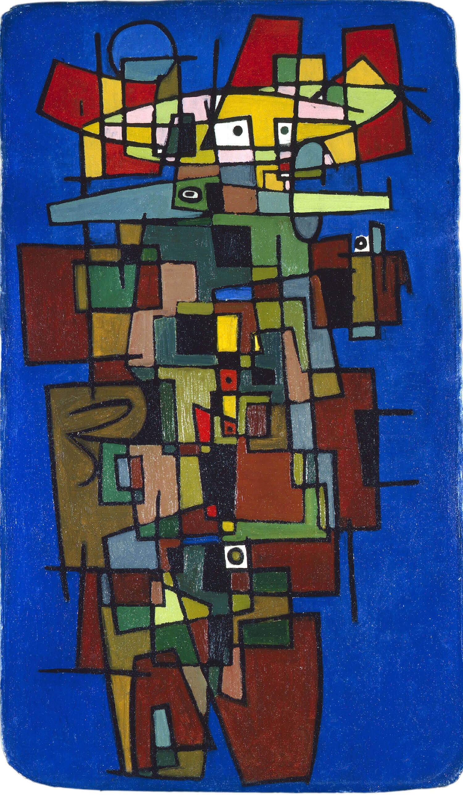 Asger Jorn: AARSTIDERNE II,  1941 Olie på blød masonit 145,5 x 84,5 cm