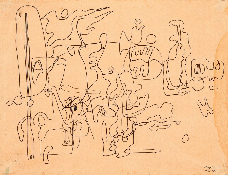 Asger Jorn: UDEN TITEL, 1939 Tegning på papir 210 x 270 mm