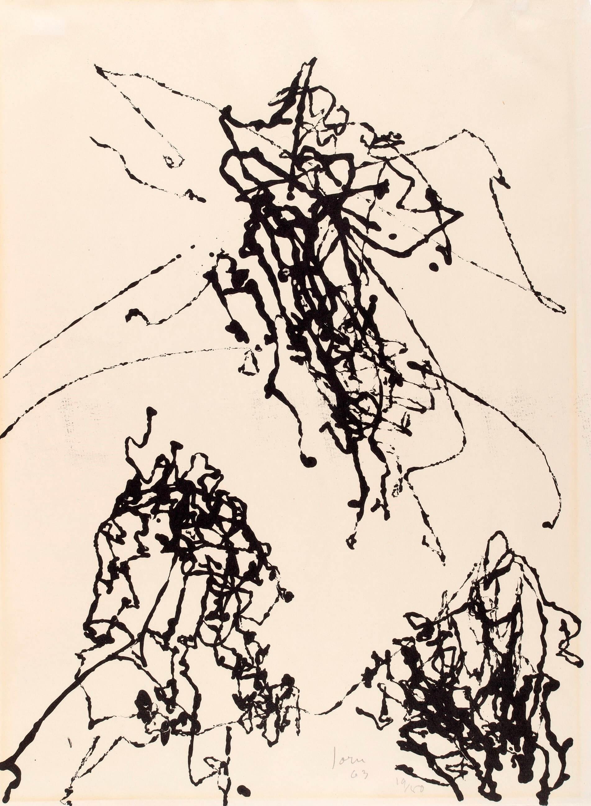 Asger Jorn:  UDEN TITEL, 1963 Litografi 617 x 460 mm