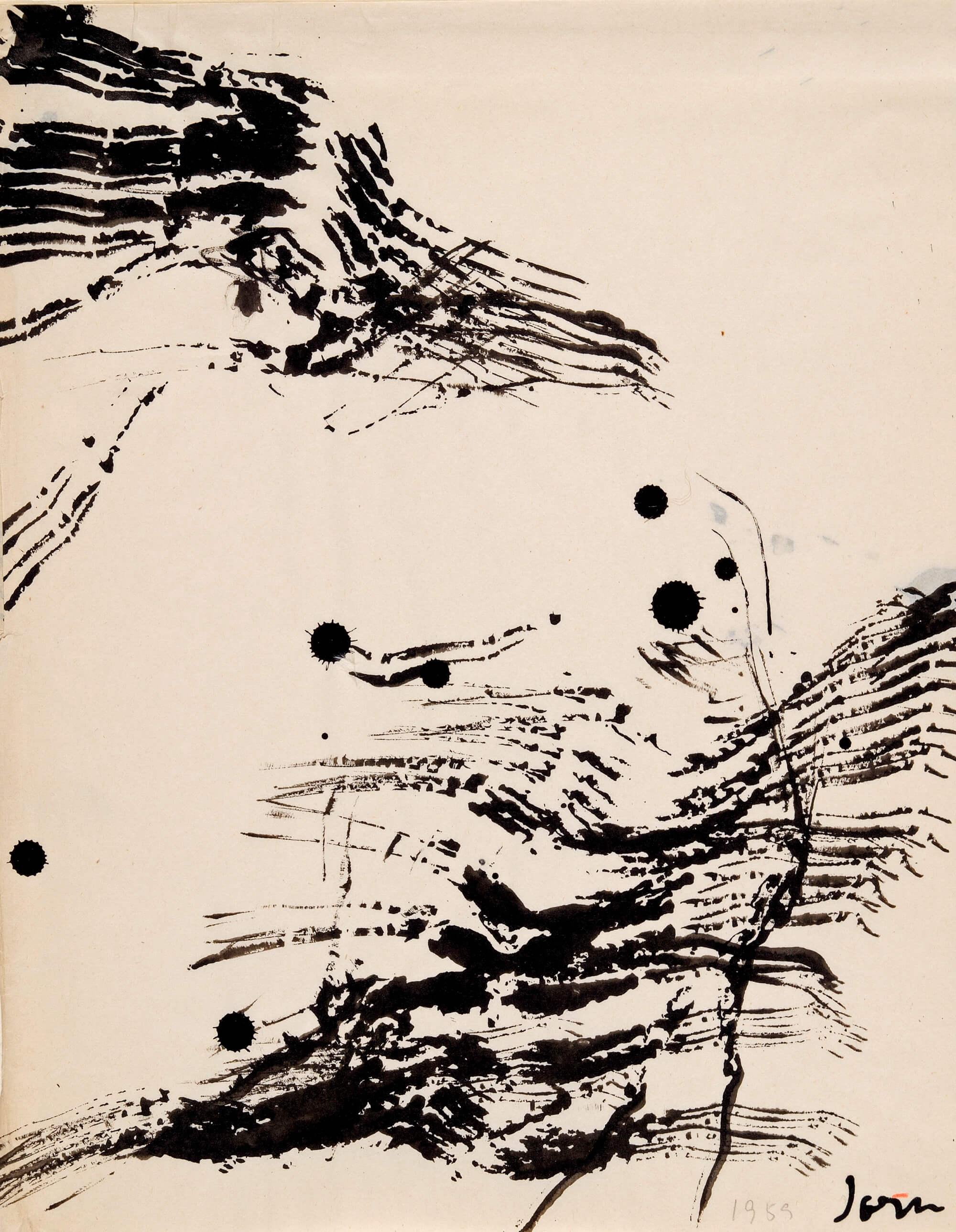 Asger Jorn: UDEN TITEL, 1959 Tusch på papir 27,1 x 21,1 cm