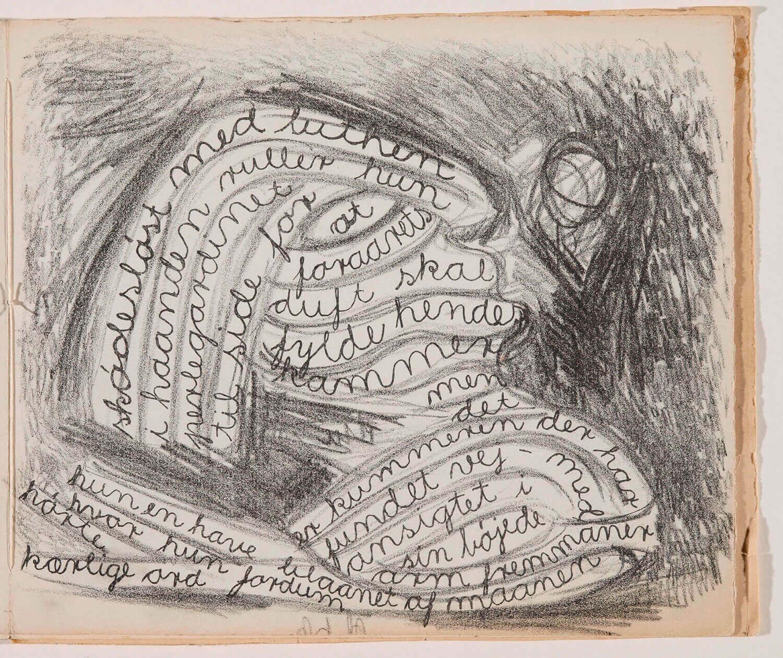 Asger Jorn:  Opslag i bogen JADEFLØJTEN, 1943 Bog med litografier og tekst