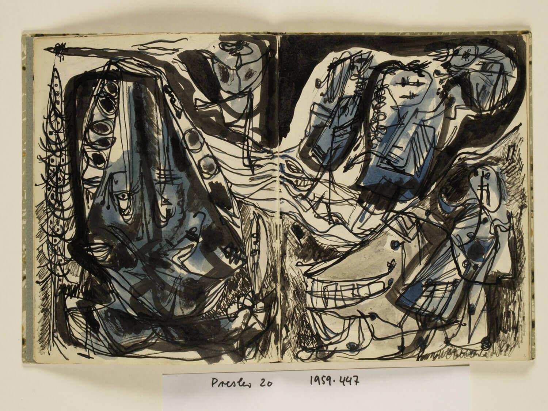 Asger Jorn:  Opslag i bogen UDVIKLINGEN AF DEN STUMME  MYTE, 1951-53 Kladdehæfte