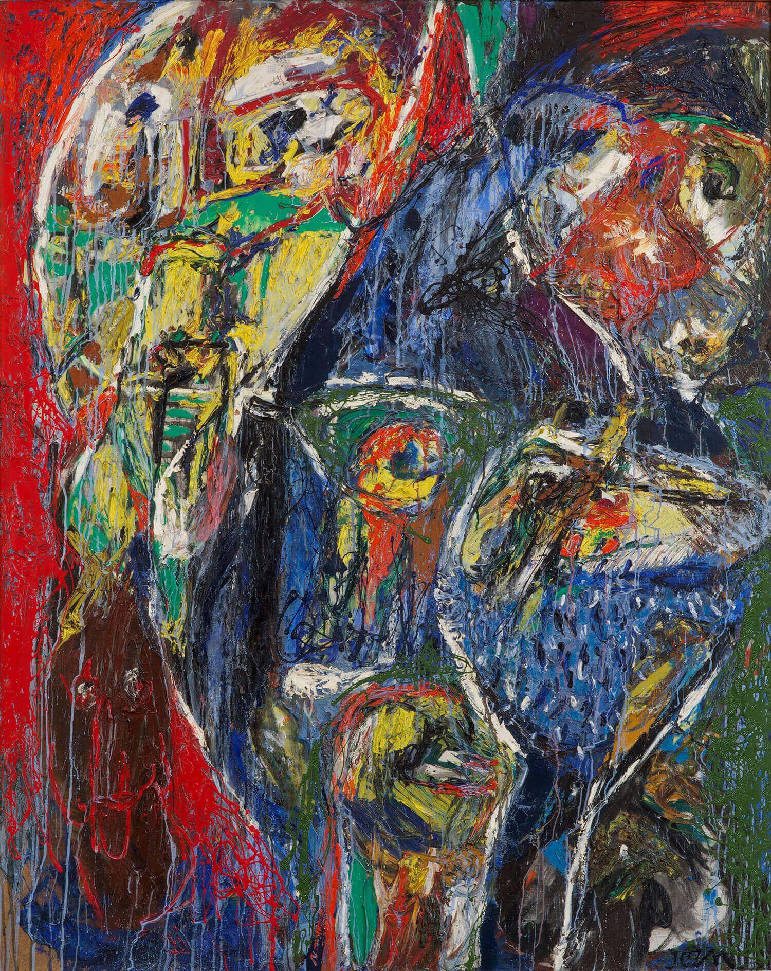 Asger Jorn:  ØJEBLIKKETS KOREOGRAFI, 1958 Olie og lakfarve på lærred 161 x 127 cm