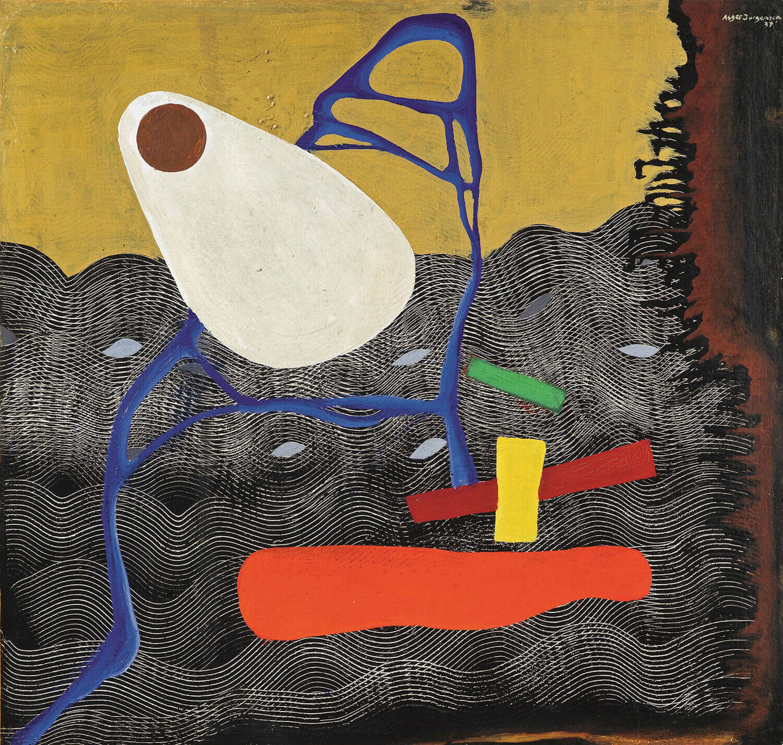 Asger Jorn:  UDEN TITEL, 1937 Olie på karton, klæbet på lærred 66 x 70 cm