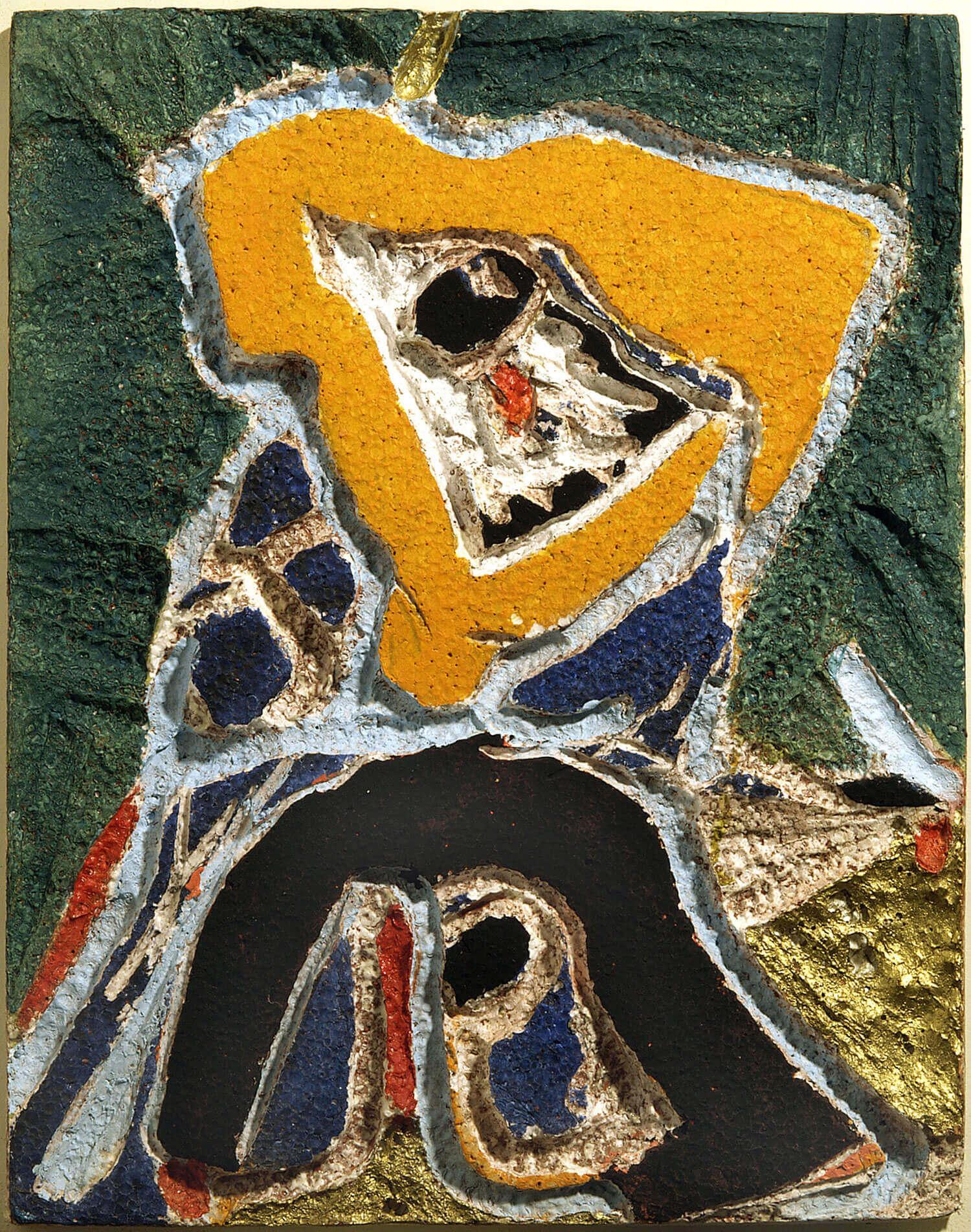 PLASTISK KOLORATUR, 1971 Udskåret skumplast, bemalet og guldbronzeret 46,5 x 37 cm