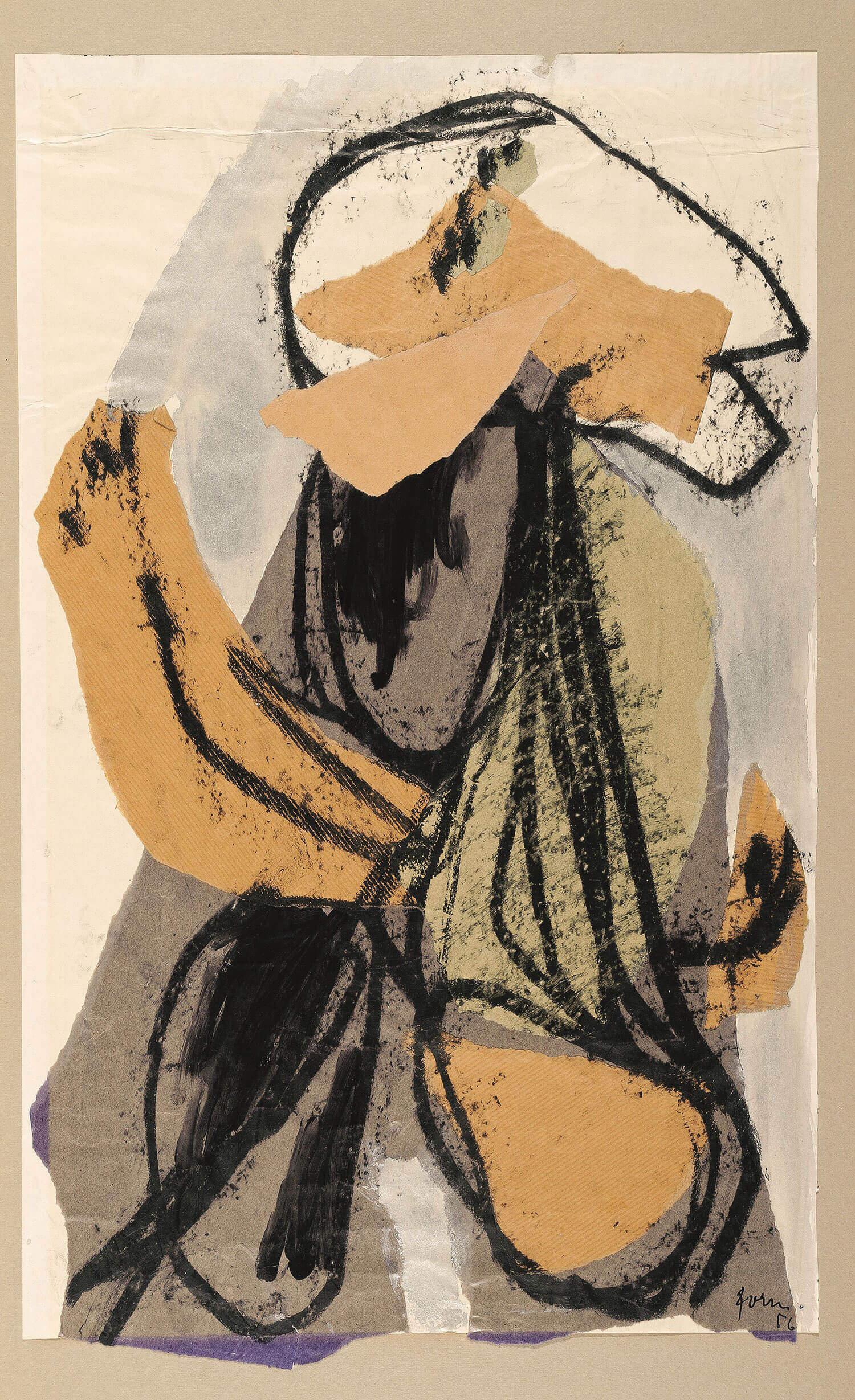 Asger Jorn: UDEN TITEL, 1956 Collage, oliekridt, sølv-bronze 536 x 411 mm