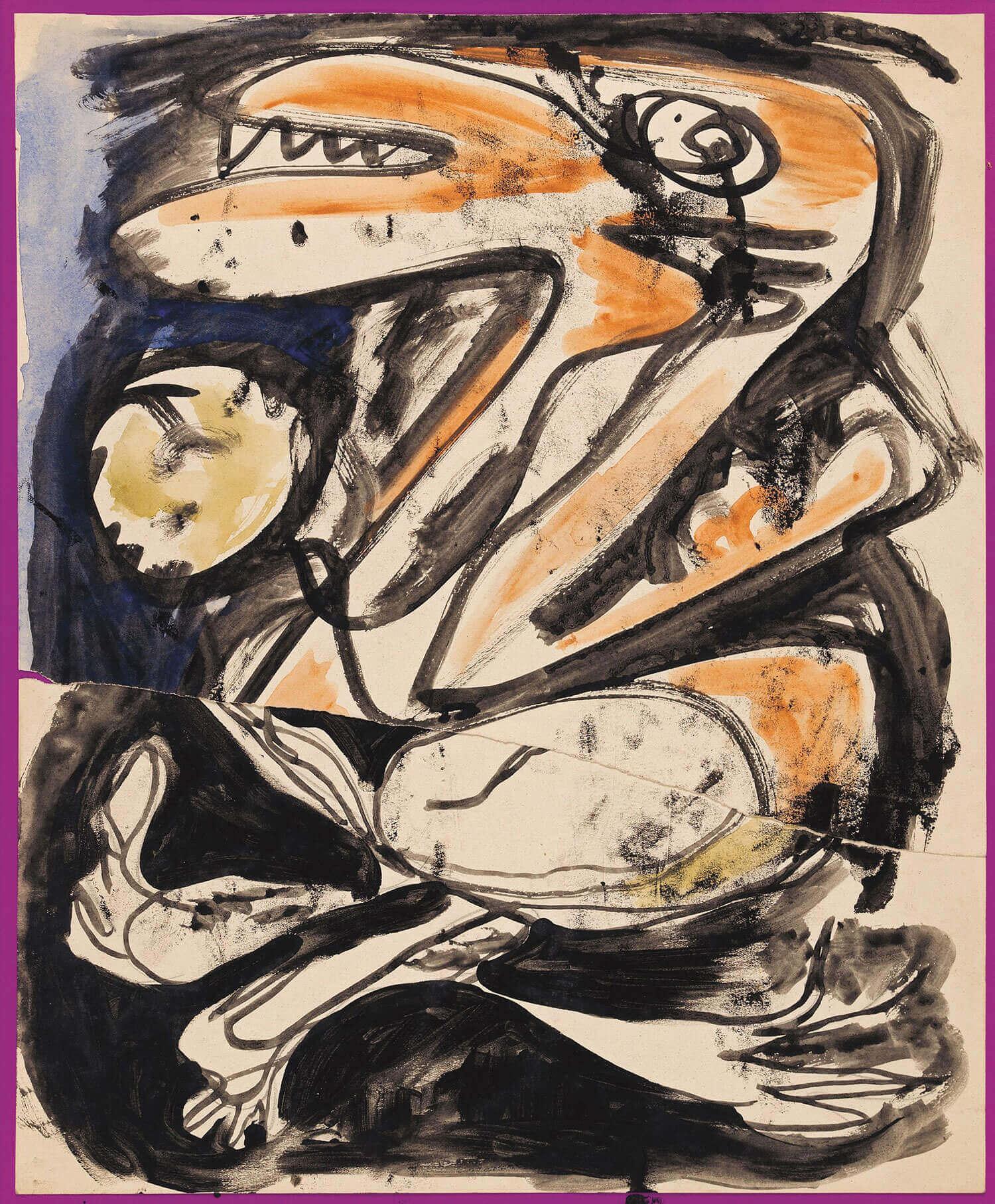 Asger Jorn:  UDEN TITEL, 1950-51 Akvarel og tusch på papir Revet over og limet op på nyt papir 400 x 330 mm