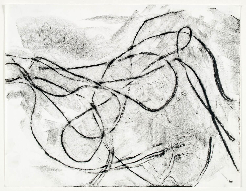 Asger Jorn:  TEGNING FRA SKITSEBOG, 1960 Sort oliekridt, snor på papir 340 x 262 mm