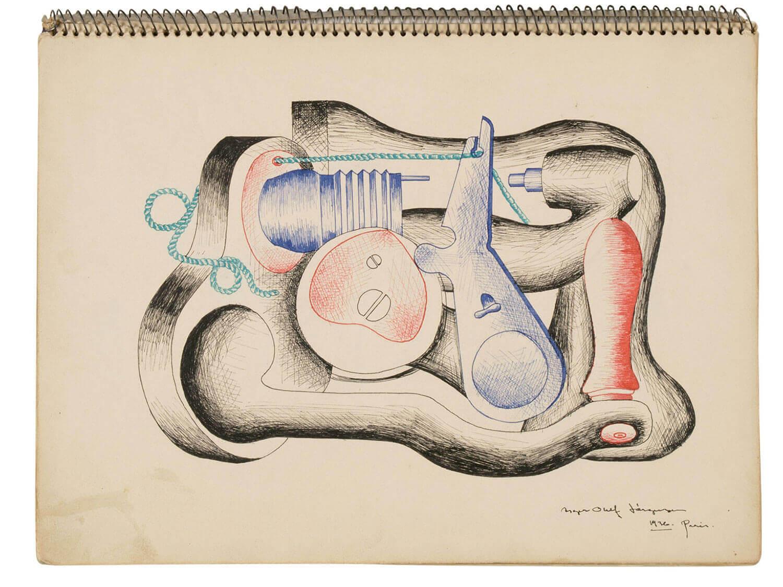 Asger Jorn:  TEGNING FRA SKITSEBOG,  1936/37 320 x 235 mm