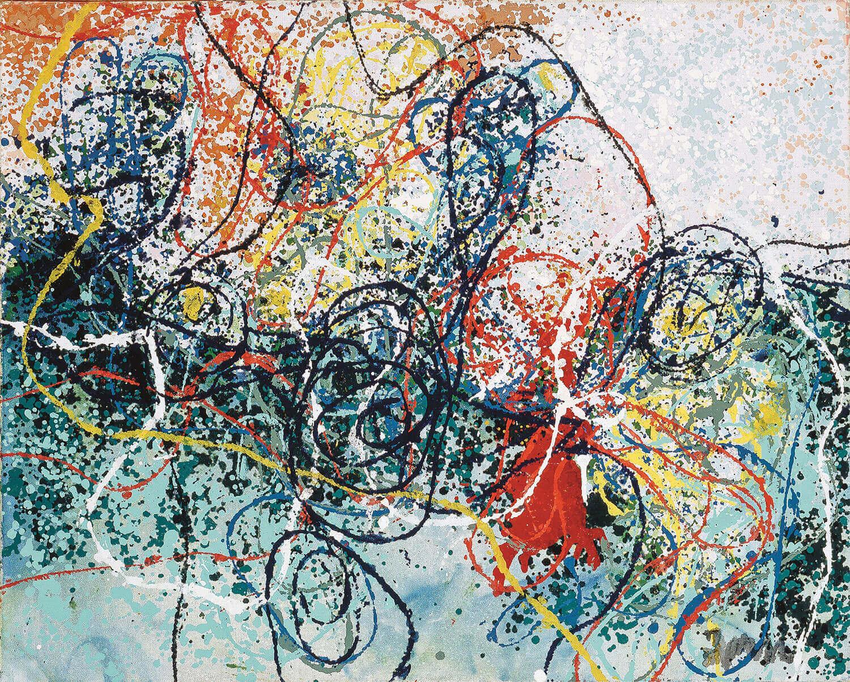 Asger Jorn:  PHORNIX PARK, 1961 Lakfarve på lærred 67,5 x 82,2 cm