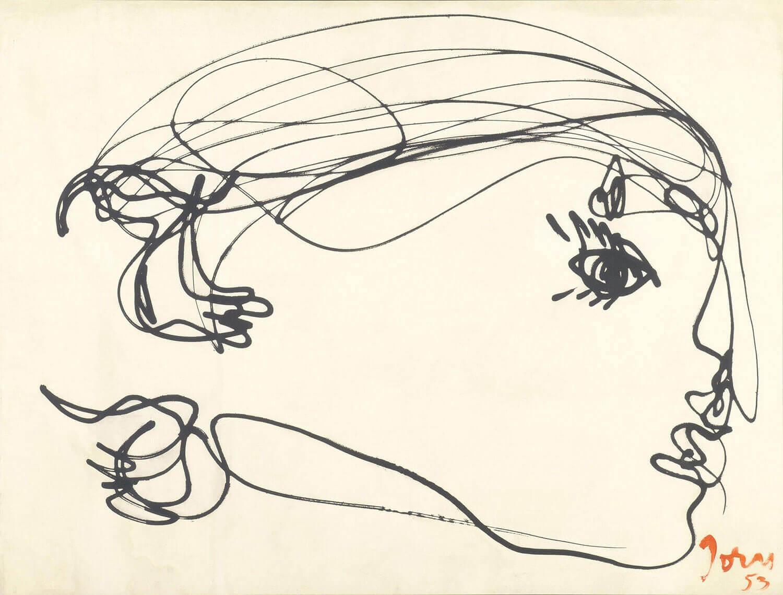 Asger Jorn (fotograf: Poul Pedersen):  PIGEDRØMME, 1953/1971 Lystegning, fotografisk aftryk på  præpareret lærred  119 x 165 cm