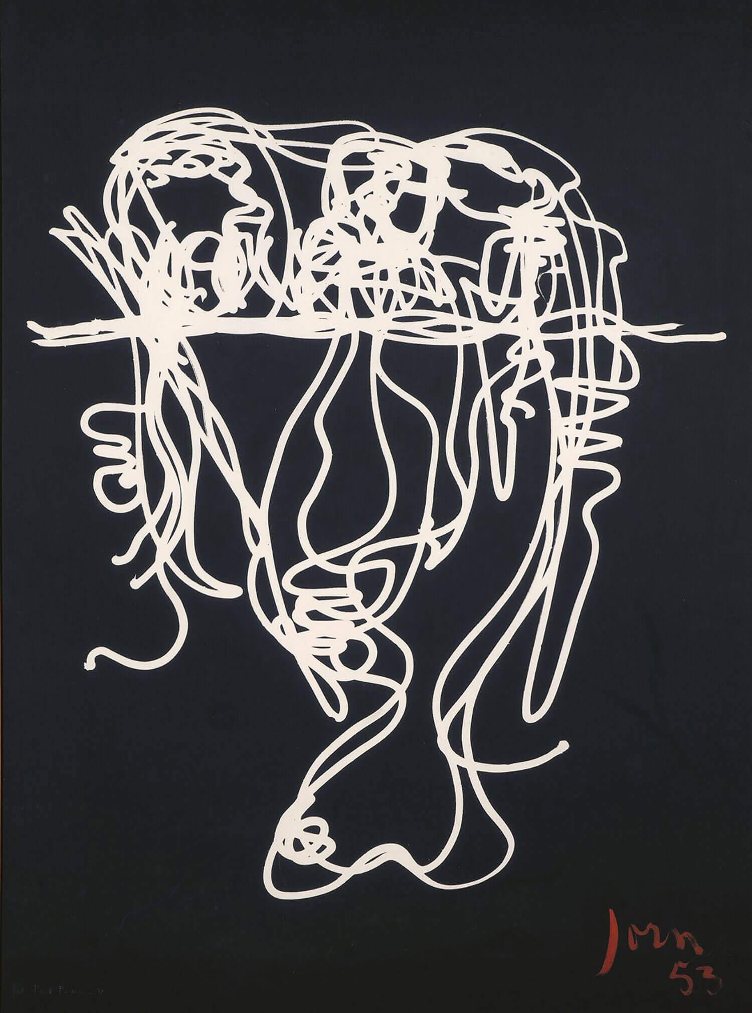 Asger Jorn (fotograf: Poul Pedersen):  OVER STREGEN OG UNDER, 1953/1971 Lystegning, fotografisk aftryk på  præpareret lærred 159 x 119 cm
