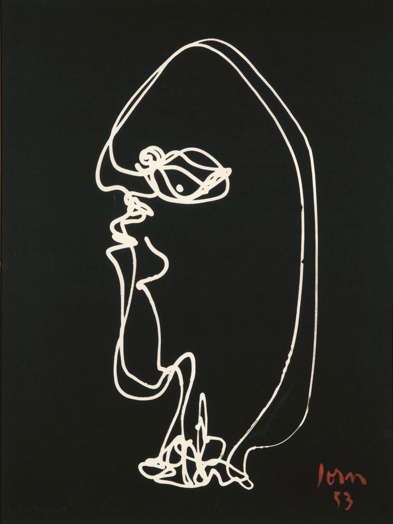 Asger Jorn (fotograf: Poul Pedersen):  VREDE, 1953 Lystegning, fotografisk aftryk på præpareret lærred  159 x 119 cm