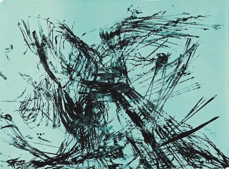 Asger Jorn:  UDEN TITEL, 1963 Litografi 460 x 617 mm Del af »Jubilæumsserien«