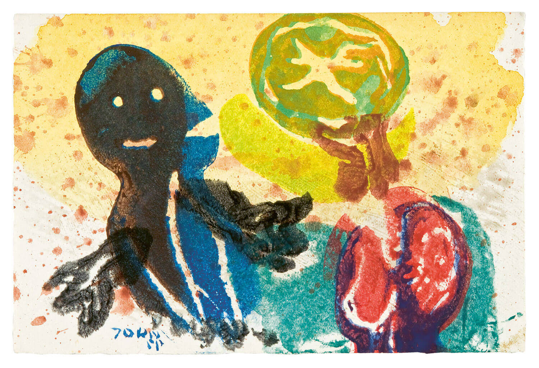 Asger Jorn:  UDEN TITEL, 1955 Farvet kartoffeltryk 100 x 148 mm