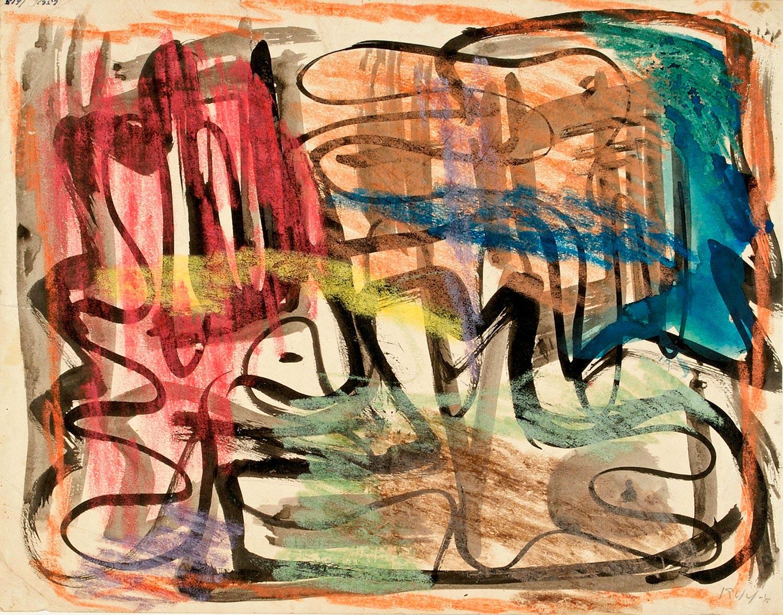 Asger Jorn:  UDEN TITEL, 1944-45 Tusch, farvekridt og akvarel på papir 271 x 345 mm