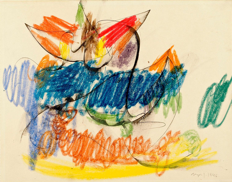Asger Jorn:  UDEN TITEL, 1946 Tusch og farvekridt på papir 272 x 347 mm