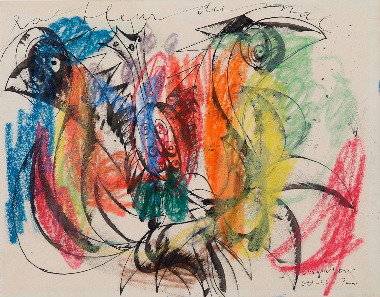 Asger Jorn: ONDSKABENS BLOMST, 1946   Tusch og farvekridt på papir 271 x 347 mm