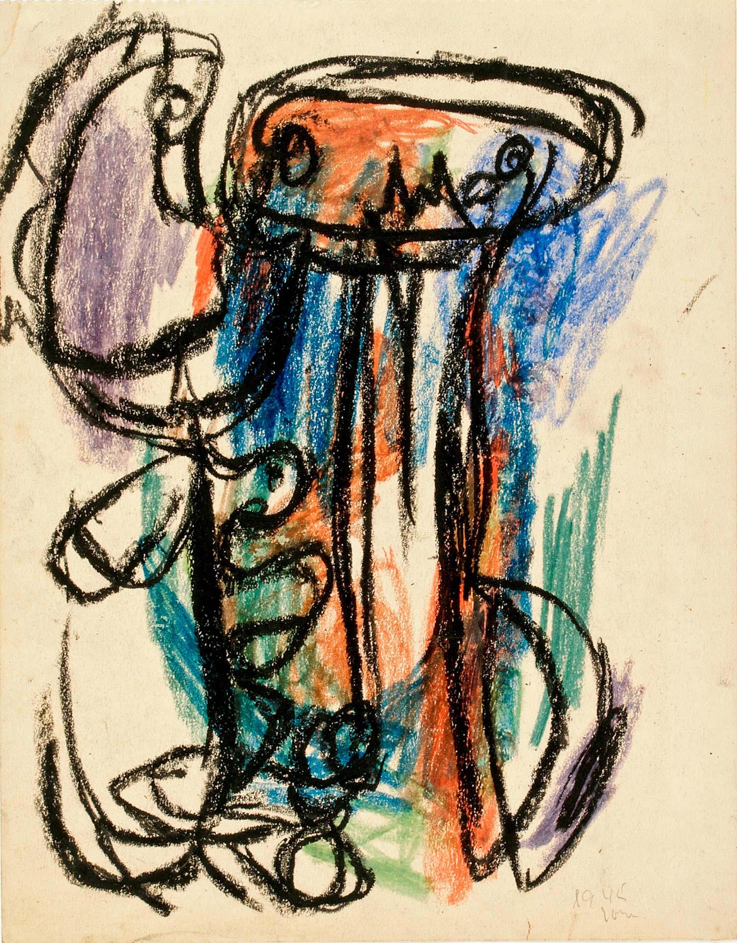 Asger Jorn:  UDEN TITEL, 1945 Farvekridt på papir 346 x 271 mm