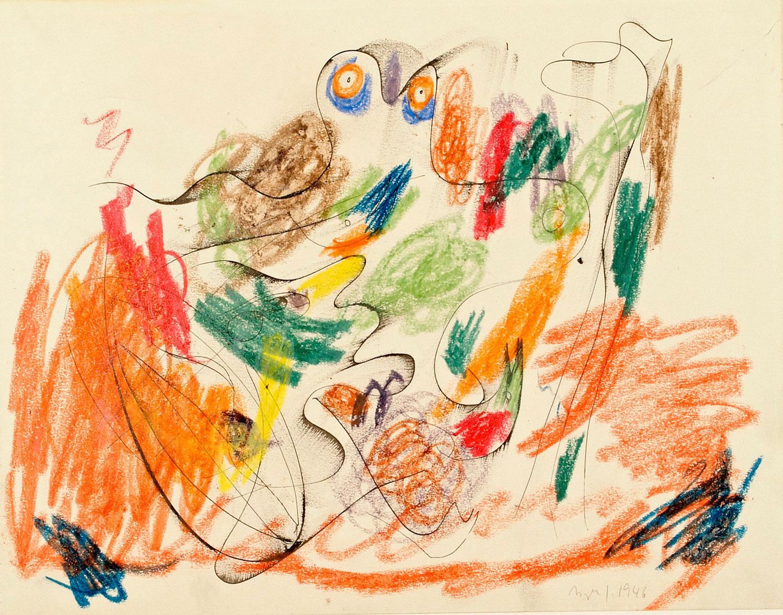 Asger Jorn:  UDEN TITEL, 1946 Tusch og farvekridt på papir 271 x 350 mm